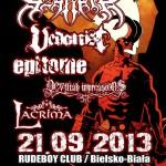 Azarath, Vedonist, Antigama, Devilish Impressions, Epitome, Lacrima; Bielsko – Biała, Klub Rude Boy, 21.09.2013