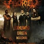 Aborted, Exhumed, Origin i Miasmal na dwóch koncertach w Polsce
