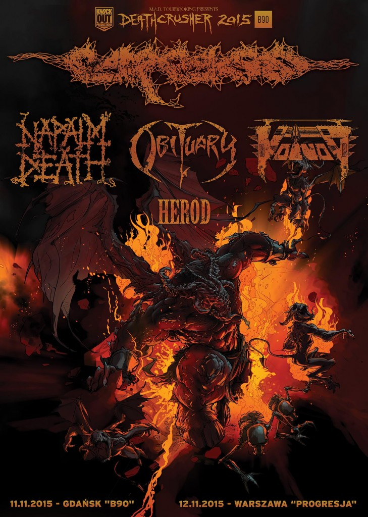 Deathcrusher Tour 2015 - Herod, Voivod, Napalm Death, Carcass, Obituary