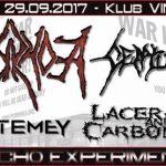 Pyorrhoea, Centurion, Lacerated and Carbonized, Mastemey; Rzeszów, Klub Vinyl; 29.09.2017