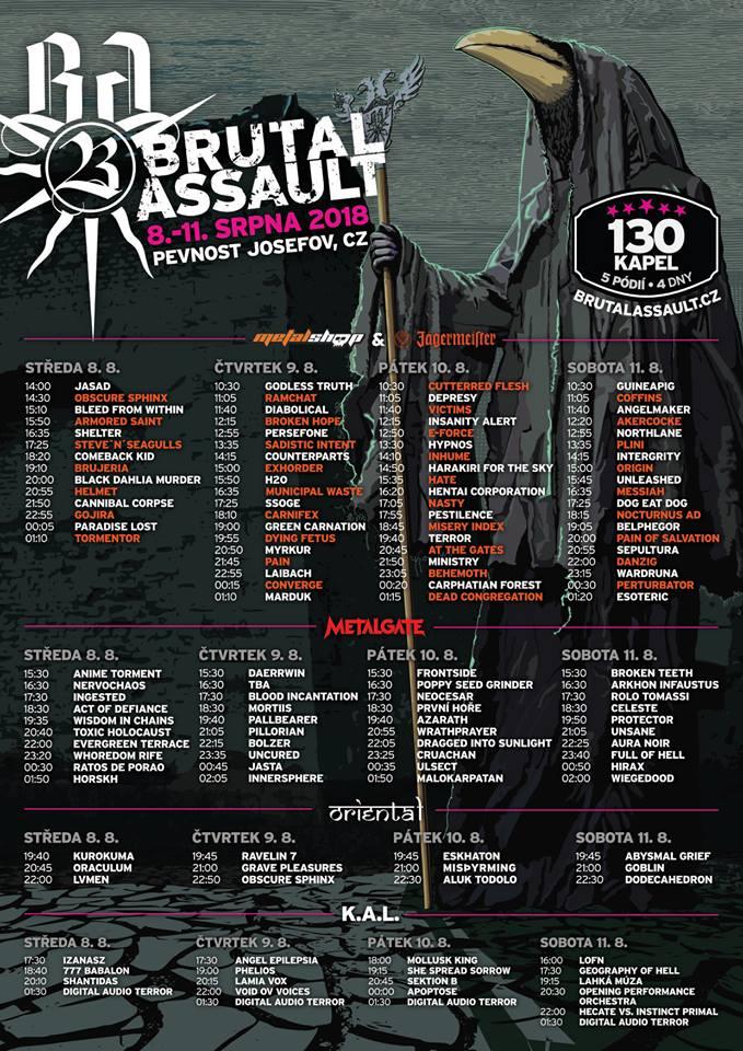 Brutal Assault 2018 rozpiska czasowa